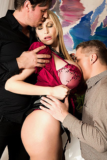Sandra Star Hot Huge Boboed Pornstar Gets Fucked By Two Guys