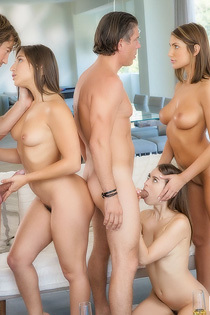 August Shares Two Cocks With Abella And Riley