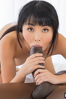 Dirty Asian Slut Sucks A Huge Black Cock